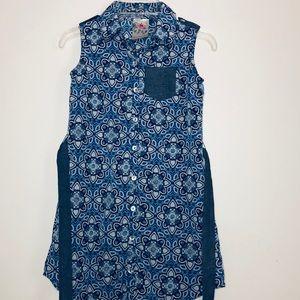 Jenna & Jessie Blue Dress with Floral Design